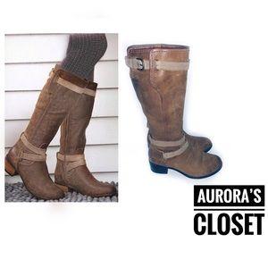 UGG 9 Brown Riding Knee Boots Darcie Suede Straps